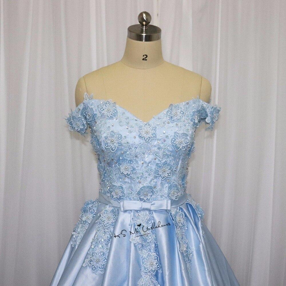 Ice Blue Wedding Dress Vintage Flowers Pearls Lace China Bridal ...