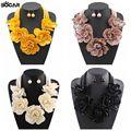 Nuevas Mujeres de La Moda Declaración Gargantilla Collar de Cadena Simulada Collar con Aretes de Perlas Grandes Flores 2016 Venta Caliente #10101