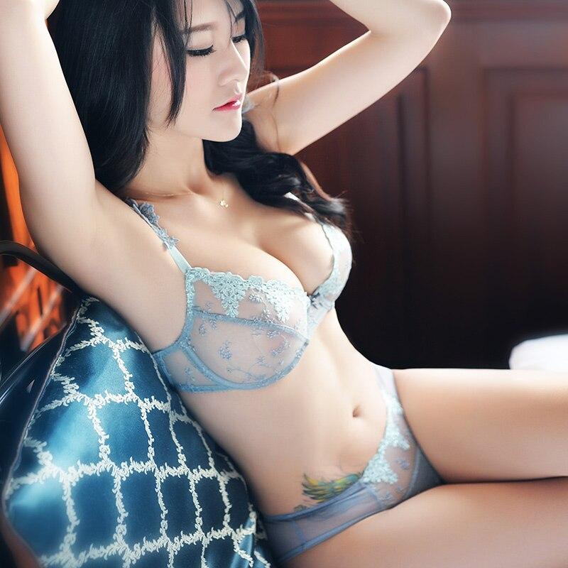 Shaonvmeiwu modèle Ultra-Mince sexy dentelle broderie mince transparent gaze sous-vêtements soutien-gorge grandes tailles sans éponge