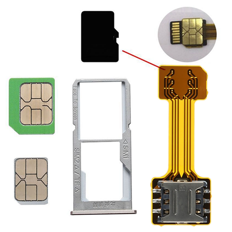 Universal TF Hybrid Sim Slot Dual SIM Card Adapter Micro SD Extender Nano Cato  Android Phone For Xiaomi For HuaWei