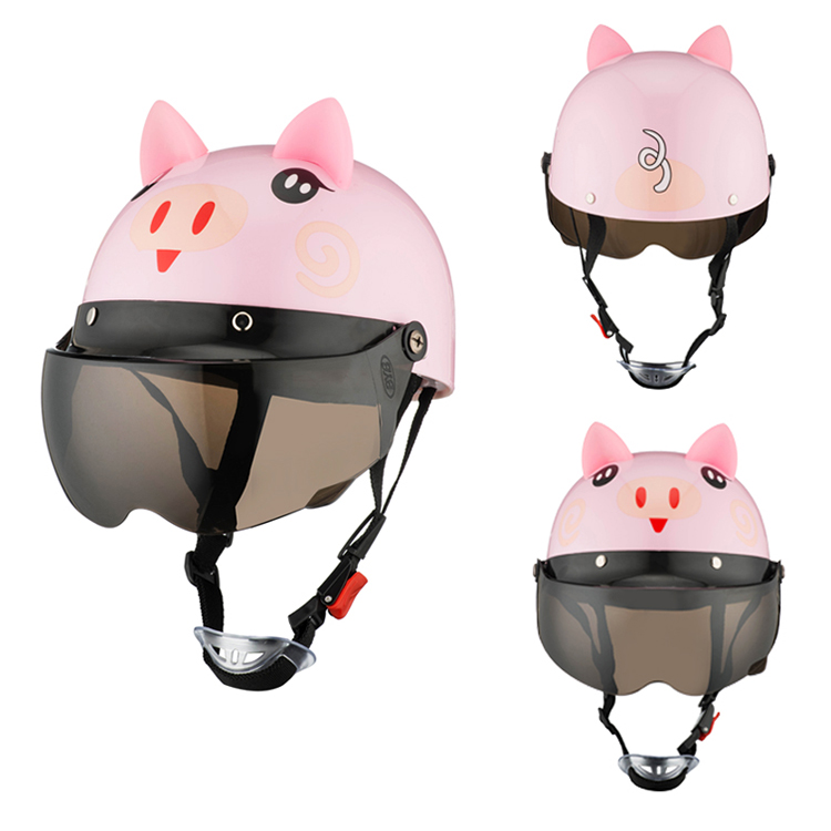 Image 3 - Electric Vehicle Sccoter Kids Half Helmet Children Safety Boy Girl Cartoon Motorcycle Helmet with Goggle Visors for 3 10 years-in Helmets from Automobiles & Motorcycles