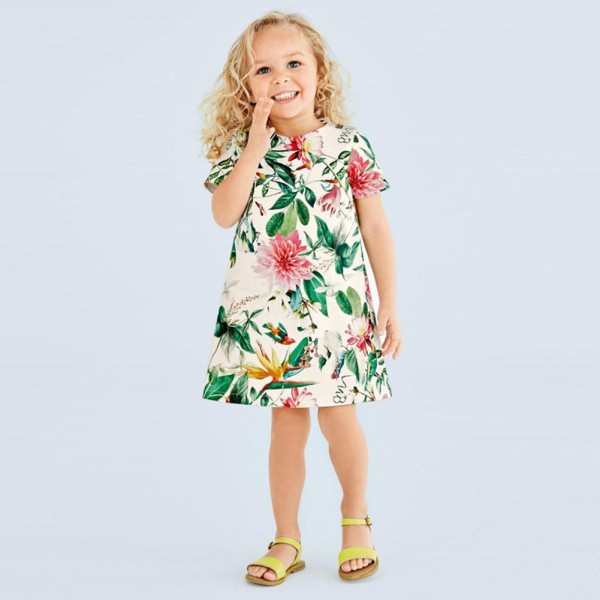 Summer Kids Girls Flower Floral Print Princess Dress Toddler Baby Cloth Infants Short Sl ...