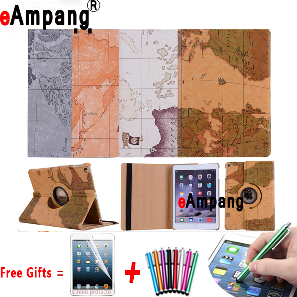 360 Degree World Map.360 Degree Rotating Leather World Map Flip Cover Case For Apple Ipad
