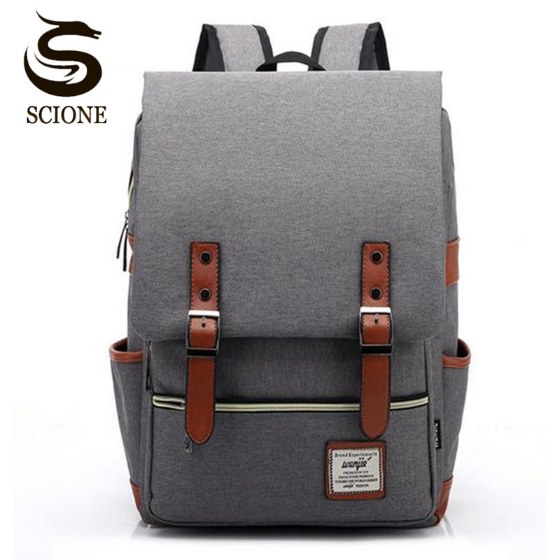 Scione Retro Men Male Canvas College School Student Backpack Casual Rucksack Travel Bagpack Laptop Bag Women Bag Couple Backpack scione ethnic canvas backpack printing elephant butterfly drawstring casual rucksack travel shoulder bag mochila feminina xa739a