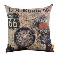 LINKWELL 45x45 cm Xe Máy Cổ Điển Route 66 Bản Đồ Thế Giới Cái Nhìn Retro Mother Road Accent Home Pillowcase Vải Bố Cushion bìa