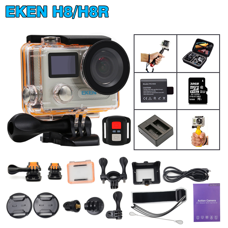 New Updated! Original EKEN H8 / H8R Action camera Ultra HD 4K / 30fps WiFi 2.0 Extreme Cam underwater waterproof Sport camera action camera ultra hd 4 k 30fps wifi sport cameres original eken h8 h8r 2 0 170d dual len underwater waterproof helmet cam
