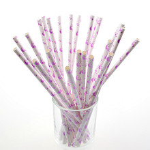 500pcs Flamingo Paper Straws Kids Birthday Party Wedding Bridal Shower Hawaiian Jungle Luau Chevron Drinking DIY