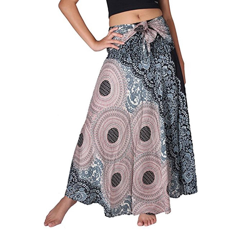 New 2018 Summer Skirt Womens Long Hippie Bohemian Gypsy Boho Flowers Elastic Floral Hlater Skirts