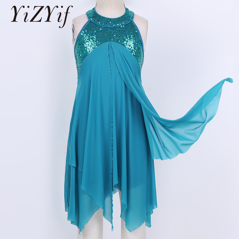 Dance Dress Girls Halter Sequins Dress Criss Cross Back Leotard Dress Lyrical Modern Contemporary Ballroom Latin Dance Dress