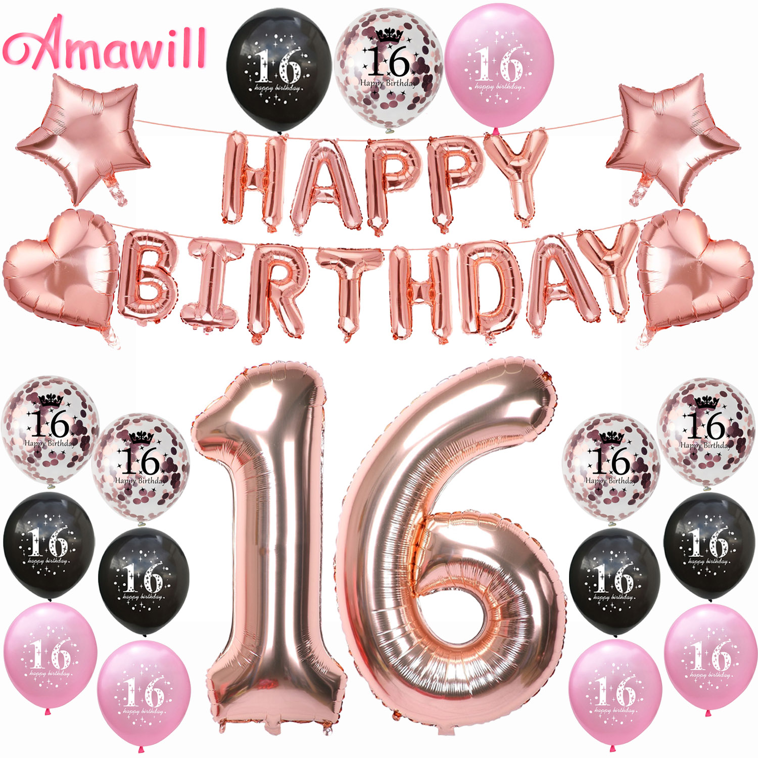 Amawill Rose Gold Birthday Party Decorations Adult 16th Happy Balloons Sweet 16 Decor 75D