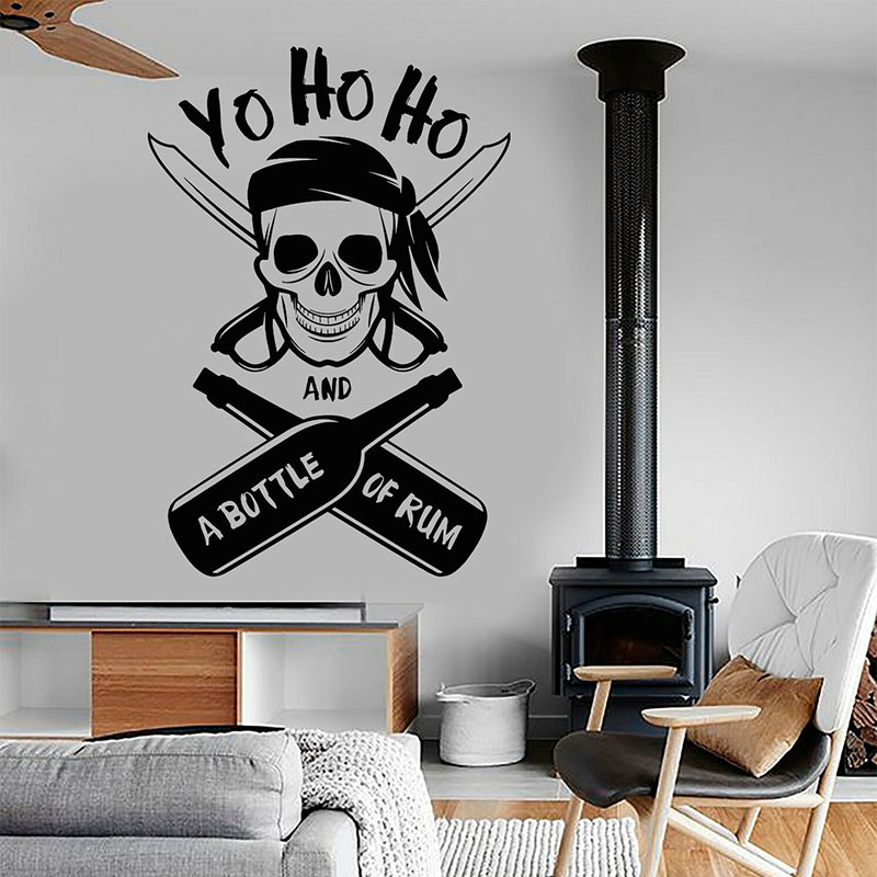 Yo Ho Ho A Bottle Of Rum Pirate Skull Wall Stickers Vinyl Nautical Home Decor Interior Boys Room Kids Bedroom Decals Mural A187 in Wall Stickers from Home Garden