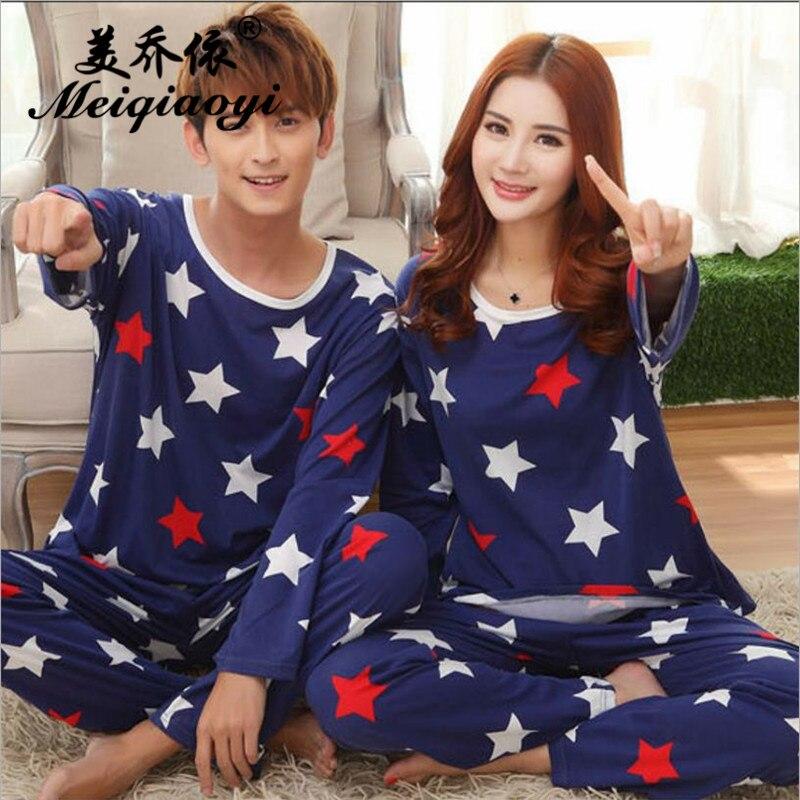 2018 spring New Men/Women Pentagram pattern Pajamas stes Round Neck Long sleeve trousers Sleepwear Couple Leisure wear