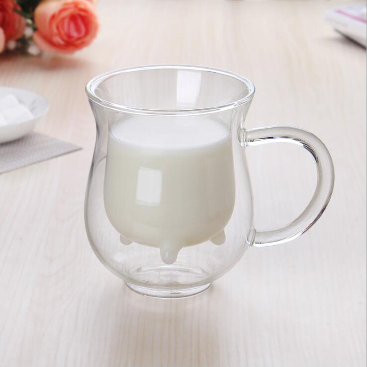 Lots 200ml Heat Resistant Glass Double Wall Cow Milk Cup Mug with Handle