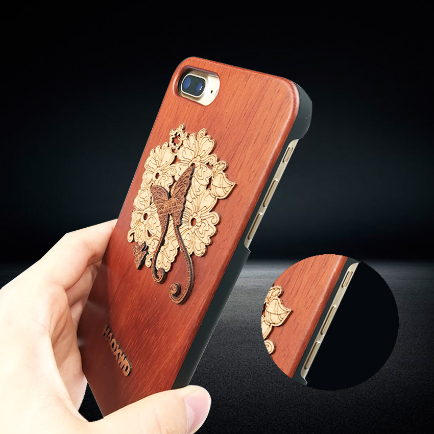 Top Quality Genuine Wood Case For <font><b>iPhone</b></font> 6s 6plus 7 7 Plus Cover Retro Carving Skull Embossed Wooden Phone Cases with tracking