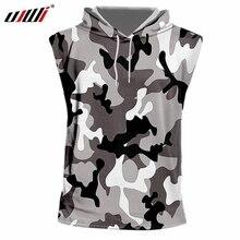 UJWI Sleeveless vest Fashion O-neck Black and white 3D Printing Jungle camouflage Streetwear 7XL Costume