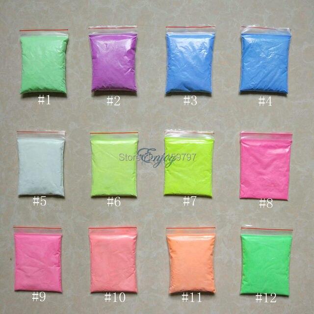 Mixed 13 Colors, Luminous Powder Phosphor Pigment Coating DIY Decoration Material,Glow in Dark Powder Pigment.