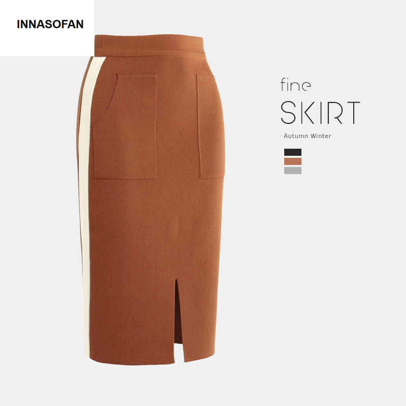 INNASOFAN knitted skirt Women's Autumn-winter skirt high waist Fashionable high-end chic skirt with pockets