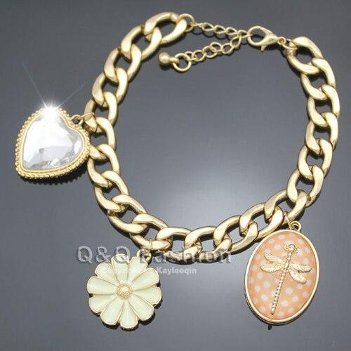 Dame or libellule insecte fleur coeur pierre gourmette chaîne Bracelet Bracelet Nouveau bijoux 2018 Nouveau