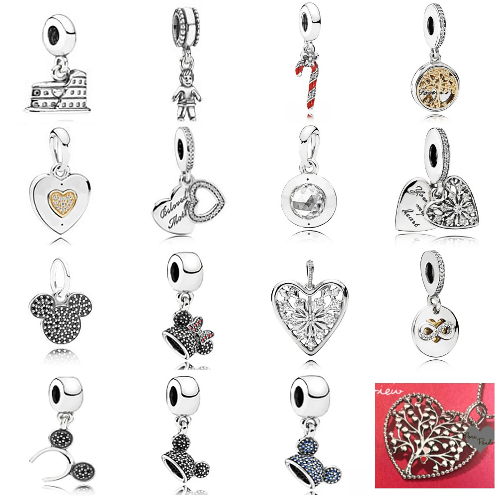 2019 NEW 100% 925 Sterling Silver Family Tree Crystal Valentine's Day Pendant Charm Beads collocation DIY Bracelet Wholesale