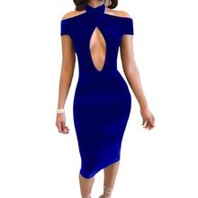 Sexy schulterfrei frauen samt red dress dünner halter kurzarm aushöhlen bodycon vestidos weihnachten blue dress