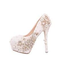 새로운 도착 화이트 진주 신부 웨딩 하이힐 신발 펌프 높은 굽 플랫폼 크리스탈 밑창 다이아몬드 럭셔리 웨딩 신발