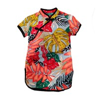 Baby Summer Girls Chinese Style Dress Round Neck Cotton Print Princess Cute Sweet Short Sleeve Cheongsam Princess Dress