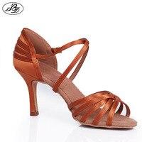 Hot Sale Women Latin Dance Shoes BD 2324 Dark Tan Satin Soft Leather Sole Ladies Ballroom Dances Shoes Sandal High Heel