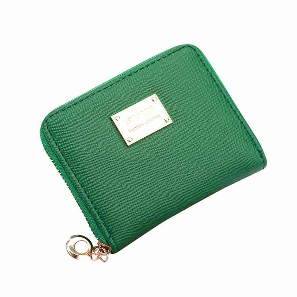 2019 Women Leather Small Wallet Zip Coin Purses Clutch Handbag Card Holder Fashion Women Clutch Purses 2.09*2