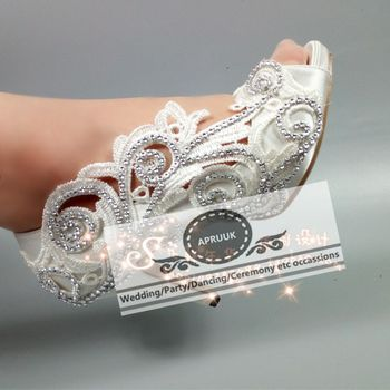 Bridal wedding shoes open peep toes sexy super high thin heels brides satin pumps shoes HS345 plus size crystal party pumps