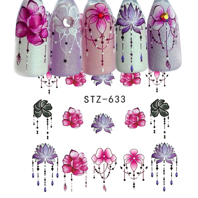 1pcs Slider Nail Sticker Gradient Lotus Decals Purple Flower Vine Designs For Nail Art Watermark Tattoo Decorations TRSTZ633-608 1