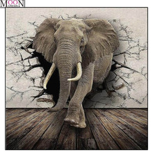 MOONCRESIN DIY Diamond Embroidery Wall Crack Elephant Painting Cross Stitch Full Square Drill Rhinestone Mosaic Decoration Art