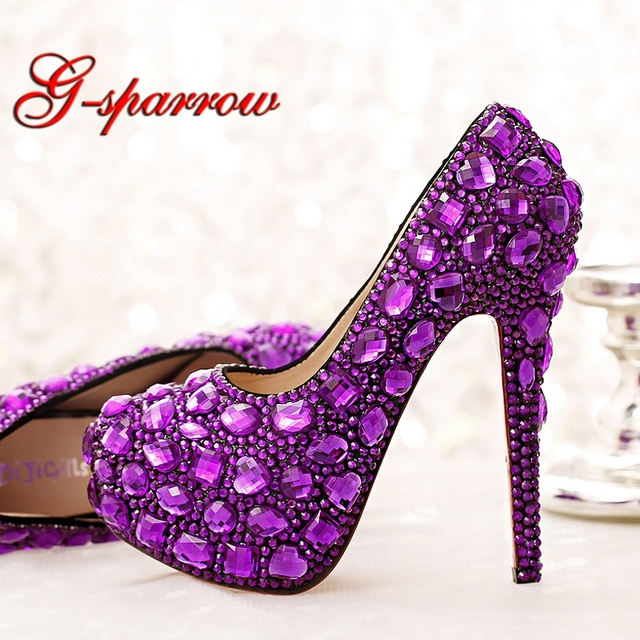 661fce7e46b2 Purple Crystal Bridal Shoes High Heel Platforms Handmade Beautiful  Rhinestone Wedding Party Shoes Luxury Graudation Prom Pumps