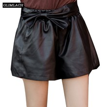 2019 Luxury Sheepskin Sashes Bow Genuine Leather Shorts Women Casual Korean Spring Autumn Real Leather Wide Leg Hot Shorts Lady