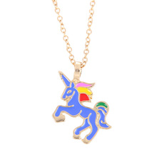 Fashion Jewelry New Color Glaze Unicorn Necklace Clavicle Pendant Necklaces Choker Collier Bijoux For Women Men Gifts