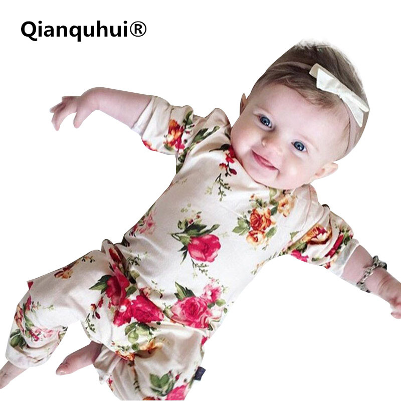 Qianquhui 2017 Autumn Newborn Baby Girl Clothes Infant Baby Romper Flower Long Sleeve Cotton Clothing Outfit 0-24M For Newborns newborn infant baby girl clothes strap lace floral romper jumpsuit outfit summer cotton backless one pieces outfit baby onesie