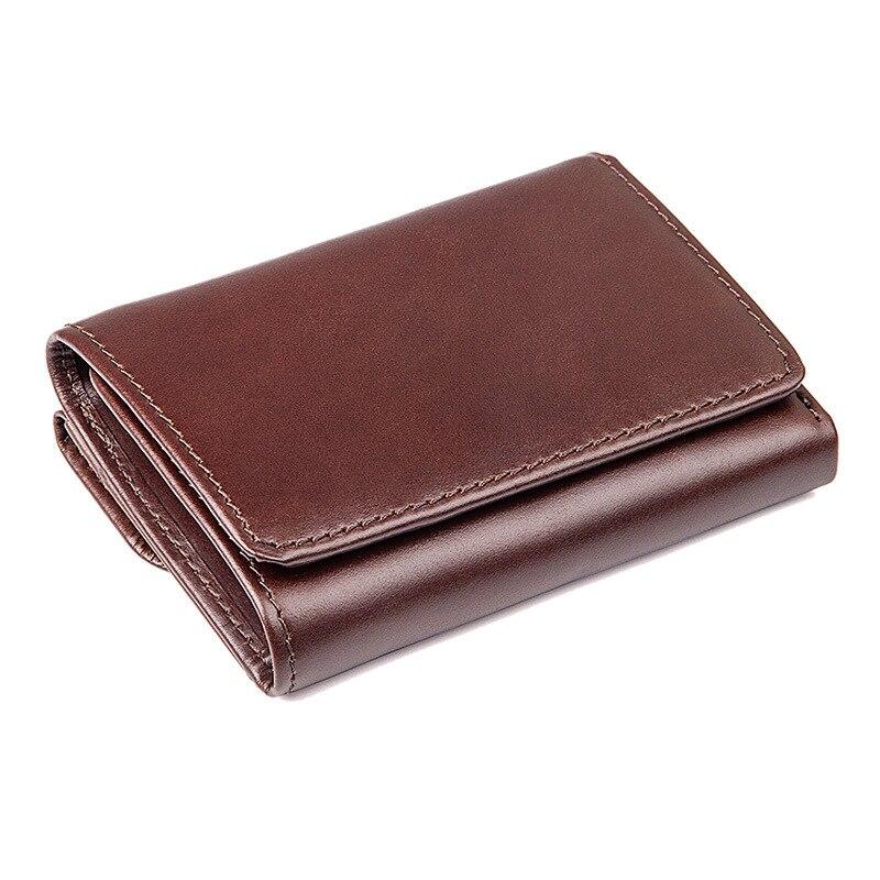 Vintage RFID Antitheft Scanning Men Wallets Genuine Leather Wallet Short Case Credit Card Trifold Purse Male Coin Pocket J8106A