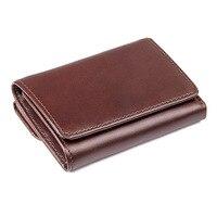 Vintage RFID Antitheft Scanning Men Wallets Genuine Leather Wallet Short Case Credit Card Trifold Purse Male