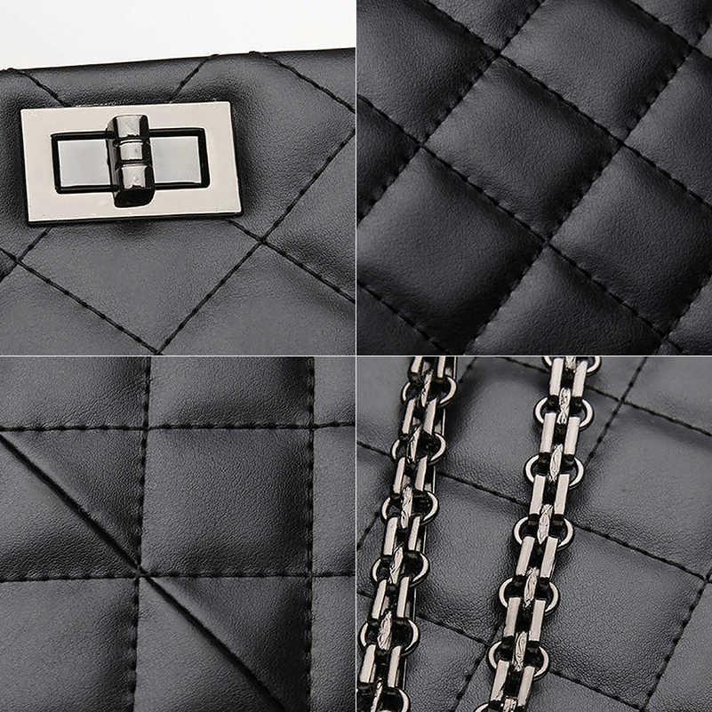 Marca de luxo Xadrez Crossbody sacos para as mulheres 2019 Grandes Bolsas Femininas Designer Preto Sacola de Couro Mensageiro saco de ombro Das Mulheres