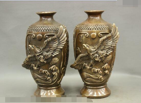 S4158 14 Chinese Bronze Eagle Hawk Bird Great Wall Statue Bottle