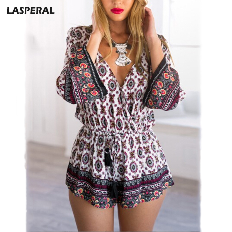 LASPERAL Brand Jumpsuit Women Chinese Folk Print Playsuits Ladies O-neck Belt Sashes Jumpsuits Summer Casual Feminine Roompers