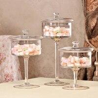 European style transparent Glass bottles dust proof lid storage cake stand dessert candy jars tea caddy vase wedding home Decor