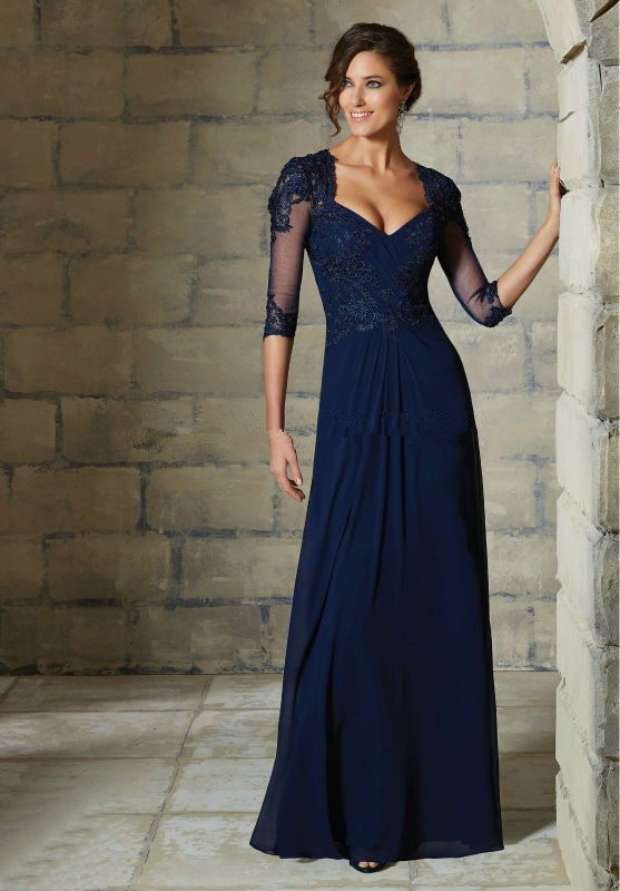 Dress-Party-Evening-Elegant-2015-Mother-Of-The-Bride-Dresses-3-4-Sleeve-Blue-Champagne-Lace (3)