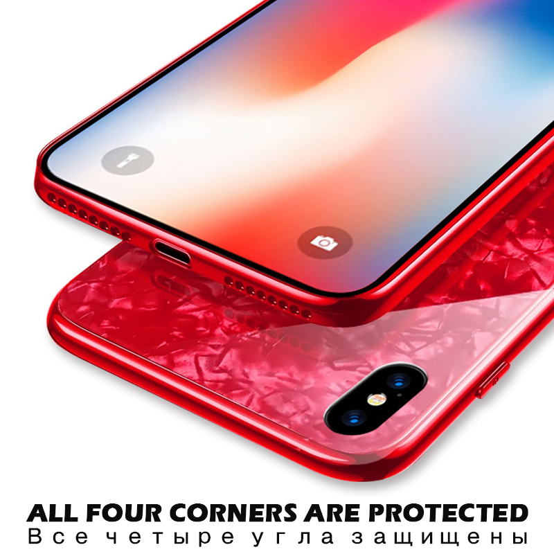 KIP7P1236_6_JONSNOW Tempered Glass Case For iPhone 6S 7 8 Plus Glossy Hard Back Cover Soft Silicone Edge for iPhone XS XR XS Max Phone Cases