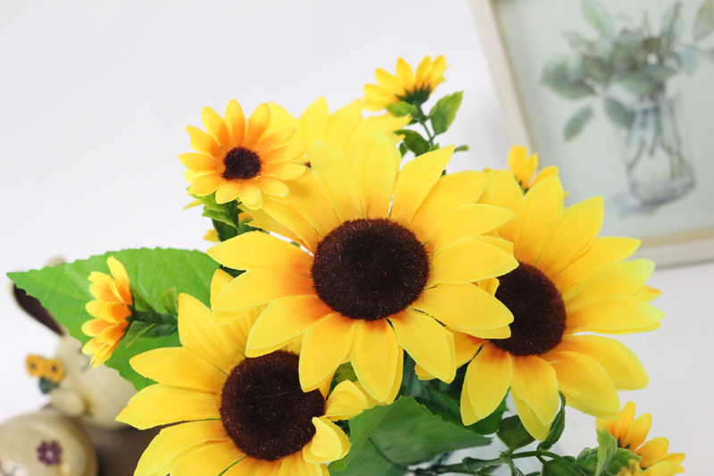 JAROWN Simulation Sunflower Bouquet Artificial Silk Fake Flowers For Home Office Tabletop Decor Wedding Decorations (7)