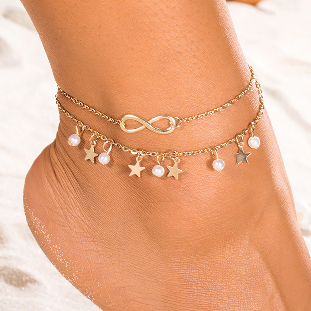 Boho Gold Color Star Infinity Anklets Fashion Multilayer Foot Chain New Simulated Pearl Anklet Bracelet for Women Beach Jewelry