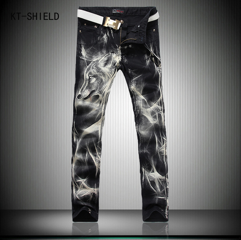 Brand Designer Biker Jeans Men Fashion Wolf 3D Printed Animal Painted Stretch Denim Overalls Men Slim