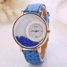 Splendid Casual Fashion Woman Leather Band Watch Quicksand Rhinestone Quartz Bracelet Bussiness Dress Wristwatch Clock Alarm