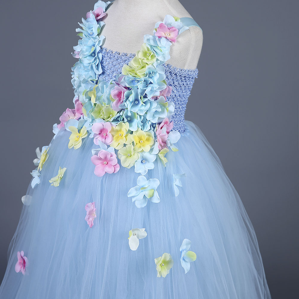 Hydrangea Ankle Length Toddler Girl Wedding Party Dress Blue Princess Flower Girls Clothes Kids for Weddings Junior Girls Dress (10)