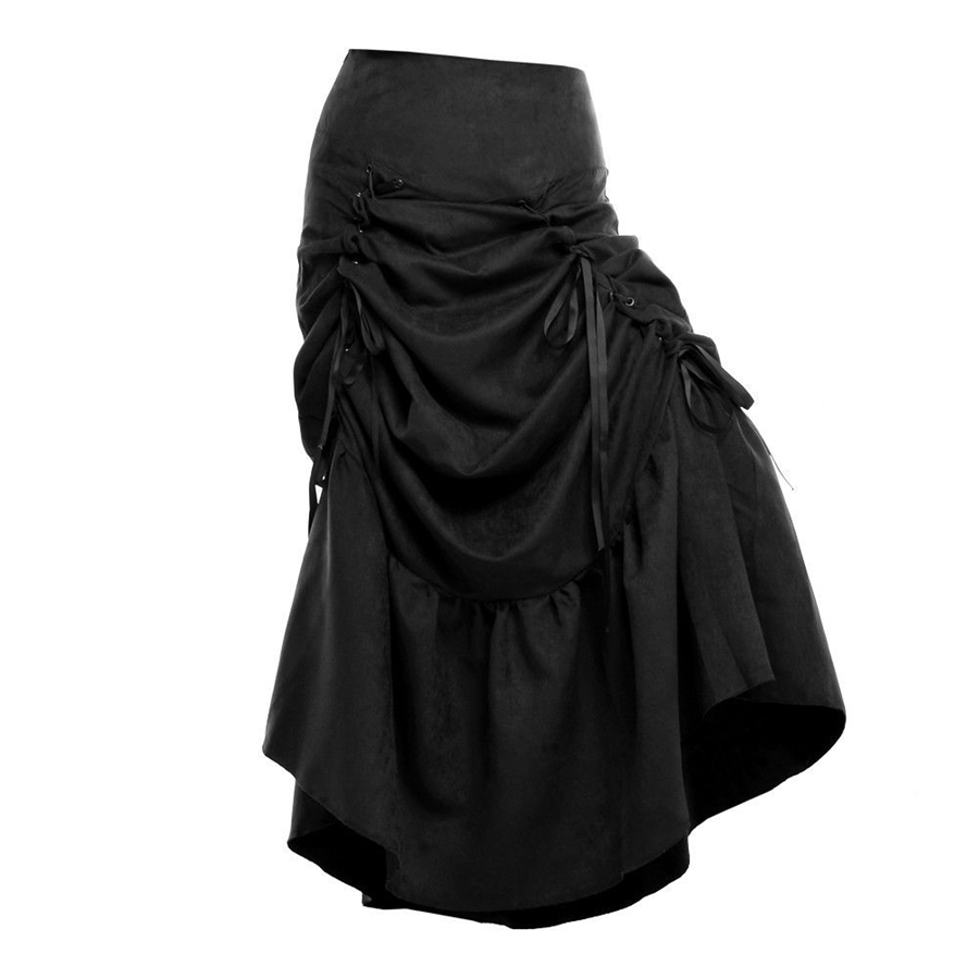 Vintage Steampunk Φούστα Γυναίκες Μαύρο - Γυναικείος ρουχισμός - Φωτογραφία 4