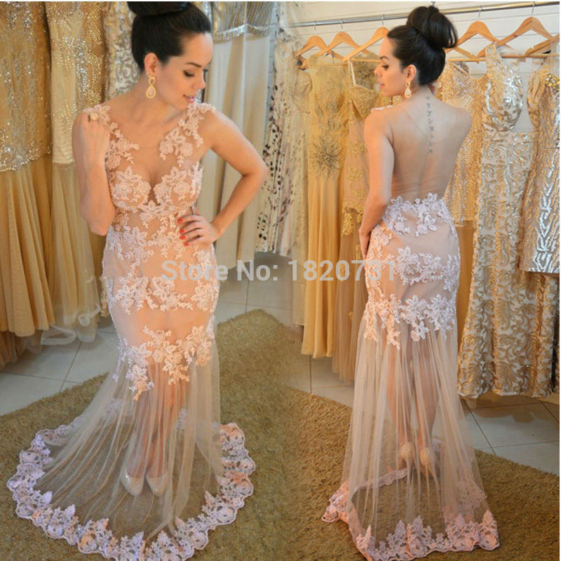 Capable Champagne Sexy Prom Dresses 2019 Sleeveless Robe De Soiree See Through V-neck Backless Tulle Applique Galajurken Evening Gowns Bright In Colour